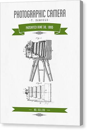1885 Photographic Camera Patent Drawing - Retro Green Canvas Print by Aged Pixel