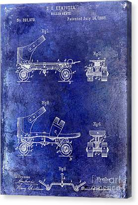 1885 Roller Skate Patent Drawing Blue Canvas Print by Jon Neidert