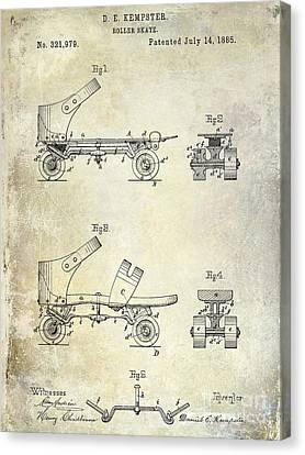 1885 Roller Skate Patent Drawing Canvas Print by Jon Neidert