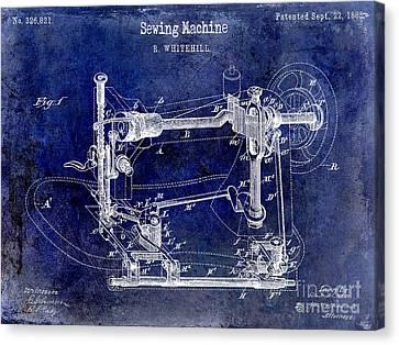 1885 Sewing Machine Patent Drawing Blue Canvas Print by Jon Neidert