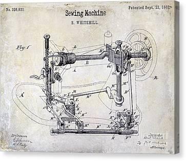 1885 Sewing Machine Patent Drawing Canvas Print by Jon Neidert