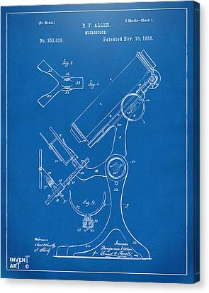 1886 Microscope Patent Artwork - Blueprint Canvas Print by Nikki Marie Smith