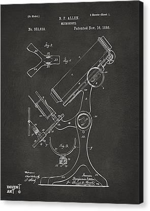 1886 Microscope Patent Artwork - Gray Canvas Print by Nikki Marie Smith