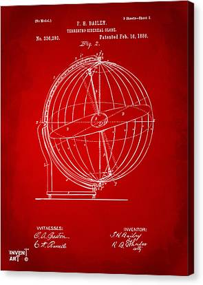 1886 Terrestro Sidereal Globe Patent 2 Artwork - Red Canvas Print by Nikki Marie Smith