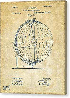 1886 Terrestro Sidereal Globe Patent 2 Artwork - Vintage Canvas Print by Nikki Marie Smith