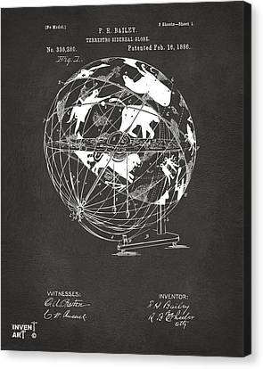 1886 Terrestro Sidereal Globe Patent Artwork - Gray Canvas Print by Nikki Marie Smith