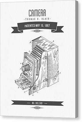 1887 Camera Patent Drawing - Retro Gray Canvas Print by Aged Pixel