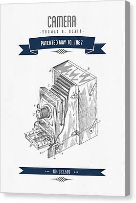 1887 Camera Patent Drawing - Retro Navy Blue Canvas Print by Aged Pixel