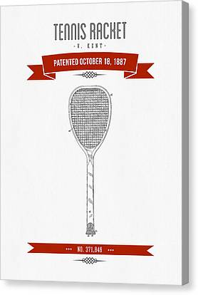 1887 Tennis Racket Patent Drawing - Retro Red Canvas Print by Aged Pixel