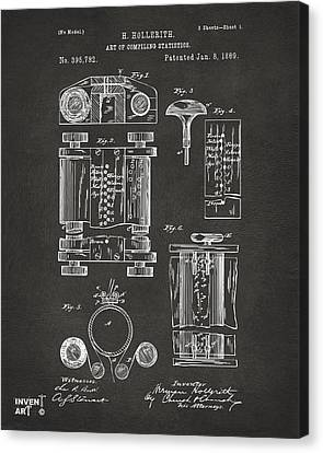 1889 First Computer Patent Gray Canvas Print by Nikki Marie Smith