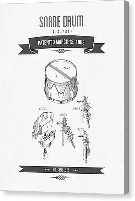1889 Snare Drum Patent Drawing Canvas Print by Aged Pixel