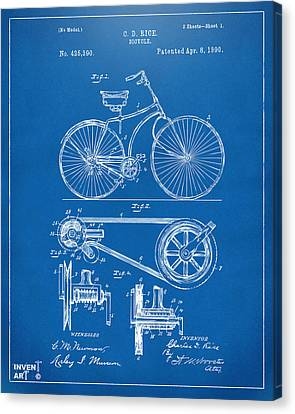 1890 Bicycle Patent Artwork - Blueprint Canvas Print by Nikki Marie Smith