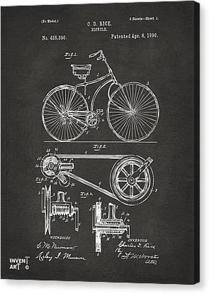 1890 Bicycle Patent Artwork - Gray Canvas Print by Nikki Marie Smith