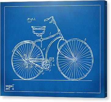 1890 Bicycle Patent Minimal - Blueprint Canvas Print by Nikki Marie Smith