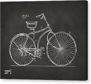 1890 Bicycle Patent Minimal - Gray Canvas Print by Nikki Marie Smith