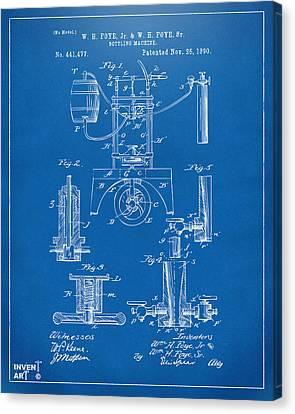 1890 Bottling Machine Patent Artwork Blueprint Canvas Print by Nikki Marie Smith