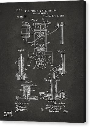 1890 Bottling Machine Patent Artwork Gray Canvas Print by Nikki Marie Smith