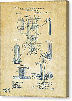 1890 Bottling Machine Patent Artwork Vintage Canvas Print by Nikki Marie Smith