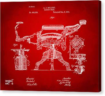 1891 Barber's Chair Patent Artwork Red Canvas Print by Nikki Marie Smith