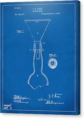 1891 Bottle Neck Patent Artwork Blueprint Canvas Print by Nikki Marie Smith