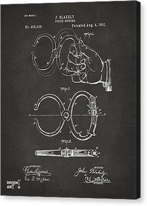 1891 Police Nippers Handcuffs Patent Artwork - Gray Canvas Print by Nikki Marie Smith