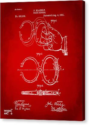 1891 Police Nippers Handcuffs Patent Artwork - Red Canvas Print by Nikki Marie Smith