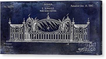 1895 Wine Room Fixture Design Patent Blue Canvas Print by Jon Neidert