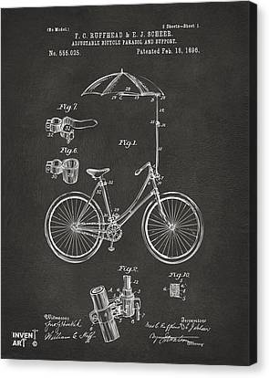 1896 Bicycle Parasol Patent Artwork Gray Canvas Print by Nikki Marie Smith