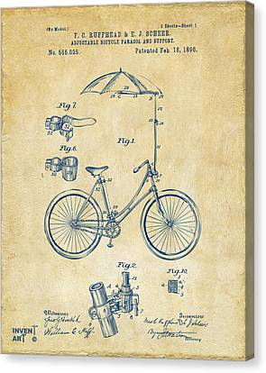 1896 Bicycle Parasol Patent Artwork Vintage Canvas Print by Nikki Marie Smith