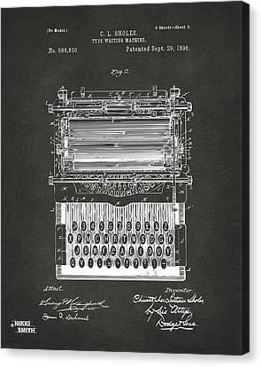 1896 Type Writing Machine Patent Artwork - Gray Canvas Print by Nikki Marie Smith