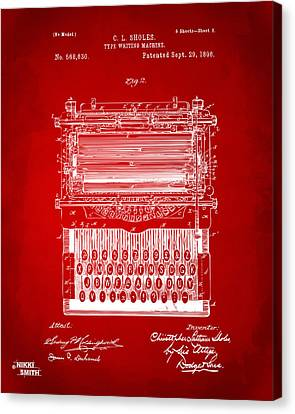 1896 Type Writing Machine Patent Artwork - Red Canvas Print by Nikki Marie Smith