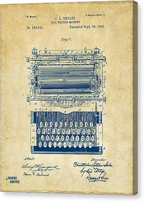 1896 Type Writing Machine Patent Artwork - Vintage Canvas Print by Nikki Marie Smith