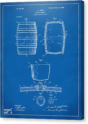 1898 Beer Keg Patent Artwork - Blueprint Canvas Print by Nikki Marie Smith