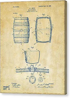 1898 Beer Keg Patent Artwork - Vintage Canvas Print by Nikki Marie Smith