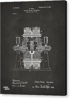1898 Tesla Electric Circuit Patent Artwork - Gray Canvas Print by Nikki Marie Smith