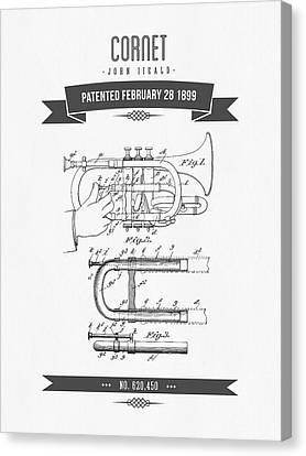 1899 Cornet Patent Drawing Canvas Print by Aged Pixel