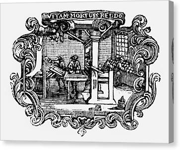 18th Century Print Shop Canvas Print by Granger