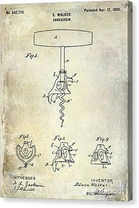 1900 Corkscrew Patent Drawing Canvas Print by Jon Neidert