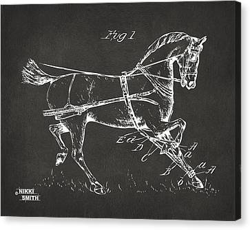 1900 Horse Hobble Patent Artwork - Gray Canvas Print by Nikki Marie Smith