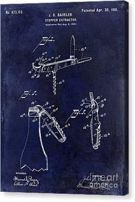 1901 Corkscrew Patent Drawing Blue Canvas Print by Jon Neidert