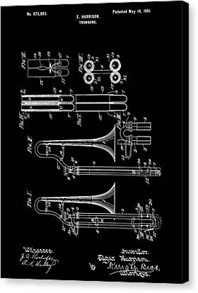 1901 Trombone Patent Canvas Print by Dan Sproul