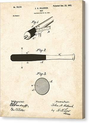 1902 Baseball Bat Patent Canvas Print by Digital Reproductions