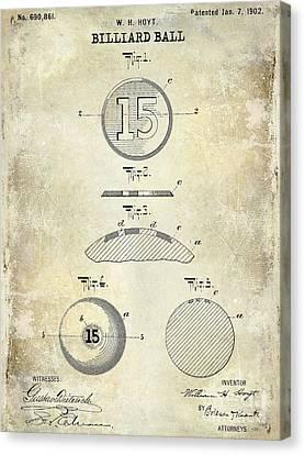1902 Billiard Ball Patent Drawing Canvas Print by Jon Neidert