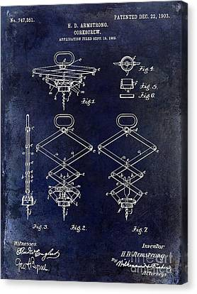 1902 Corkscrew Patent Blue  Canvas Print by Jon Neidert