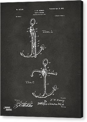 1902 Ships Anchor Patent Artwork - Gray Canvas Print by Nikki Marie Smith