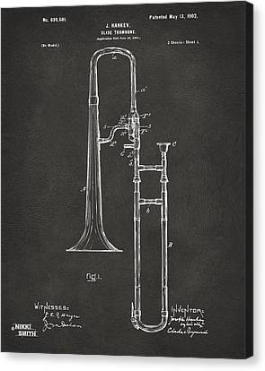 1902 Slide Trombone Patent Artwork - Gray Canvas Print by Nikki Marie Smith