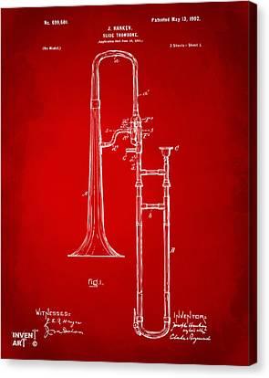 1902 Slide Trombone Patent Artwork Red Canvas Print by Nikki Marie Smith