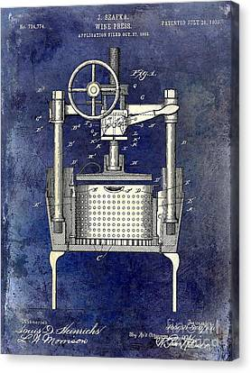 1902 Wine Press Patent Drawing 2 Tone Blue Canvas Print by Jon Neidert