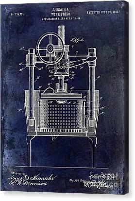 1902 Wine Press Patent Drawing Blue Canvas Print by Jon Neidert