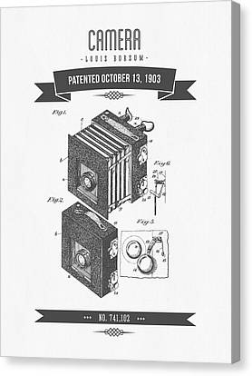 1903 Camera Patent Drawing - Retro Gray Canvas Print by Aged Pixel